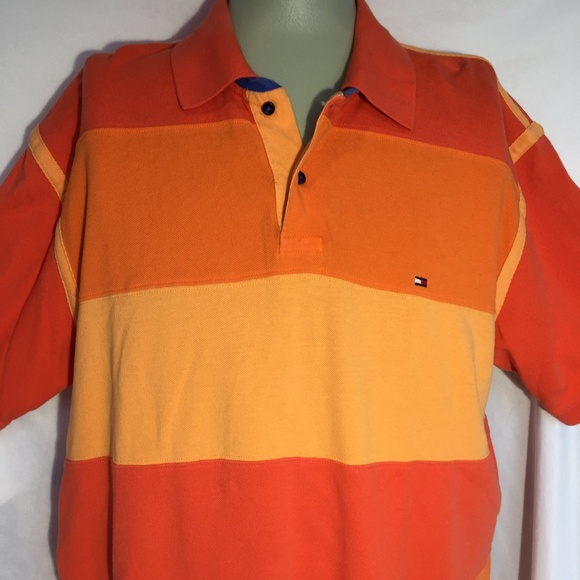 3f3fbeb7 Vintage TOMMY HILFIGER Orange Color Block Polo XL.  M_5adf37dc739d48fe33d4ac70